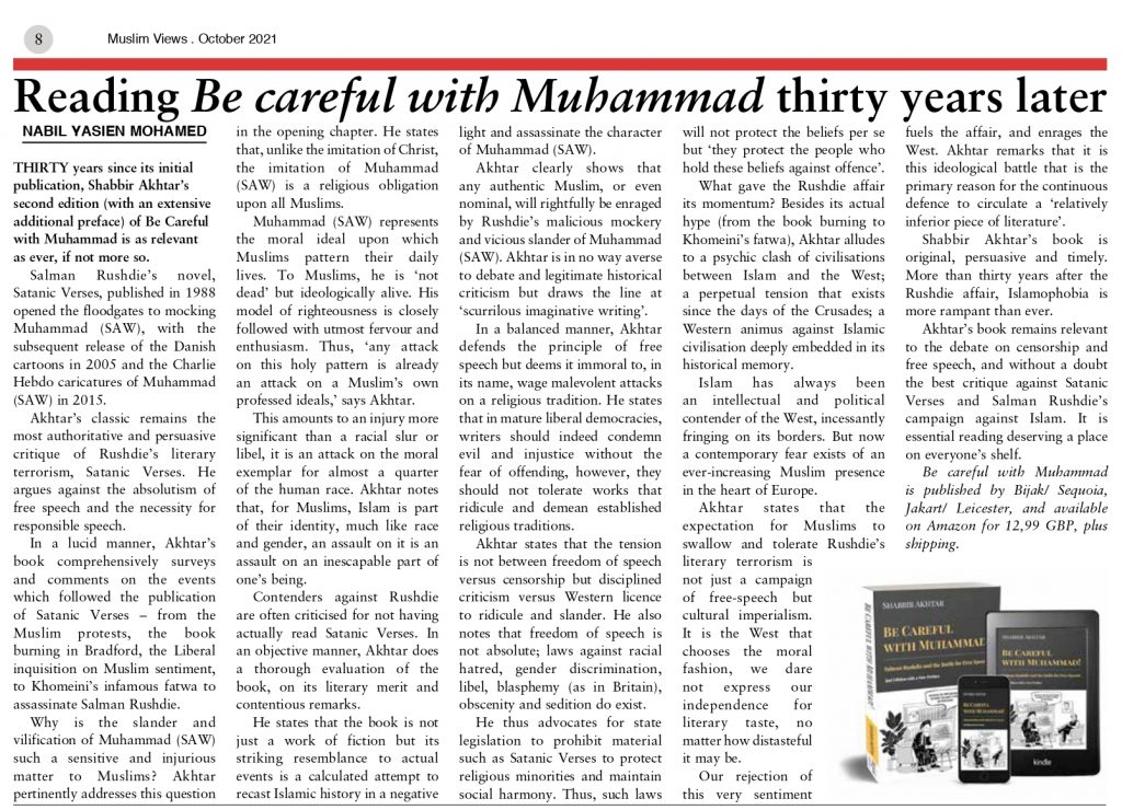 review - be careful with muhammad - shabbir akhtar